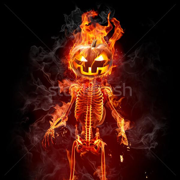 Halloween yanan iskelet yangın yüz soyut Stok fotoğraf © Misha