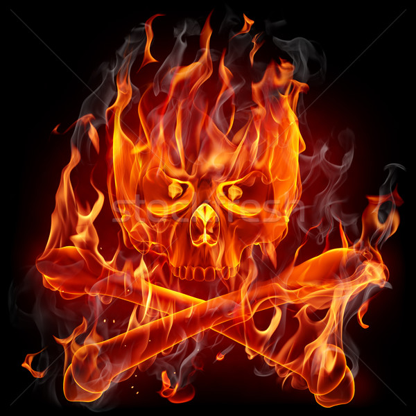 Feu crâne visage fond fumée rouge Photo stock © Misha