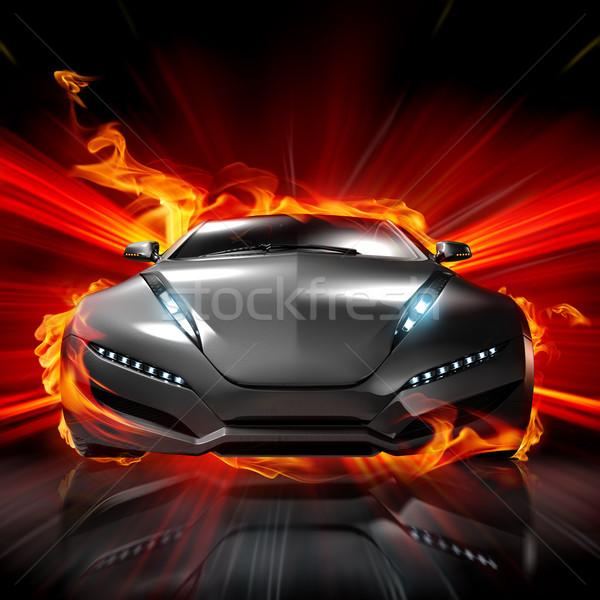 Stock fotó: Tűz · autó · eredeti · terv · füst · piros