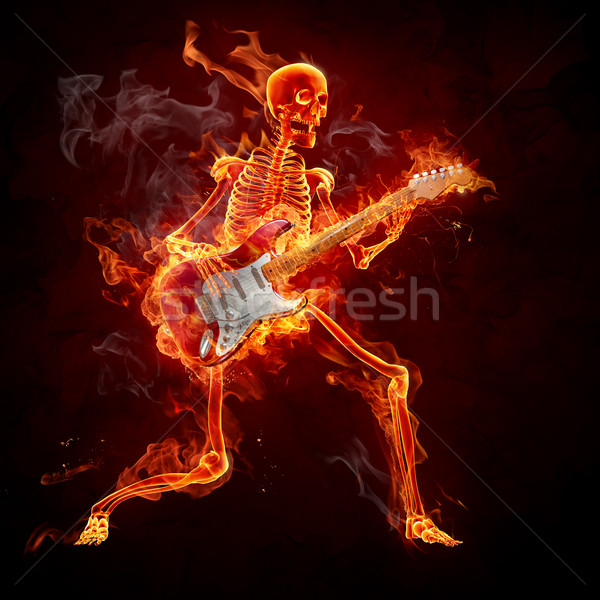 Fuego guitarrista llameante esqueleto jugando guitarra Foto stock © Misha