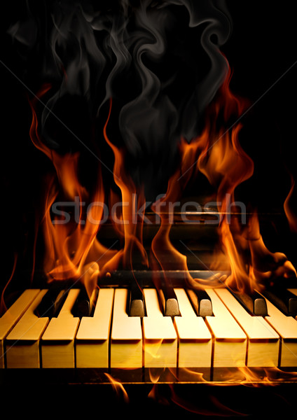 Piano fiamme brucia fuoco abstract design Foto d'archivio © Misha