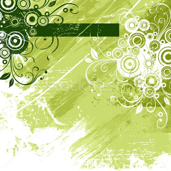 Zöld virágmintás elemek absztrakt virág terv Stock fotó © Misha