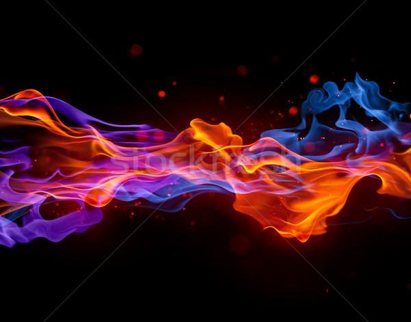 Blauw Rood brand vurig textuur abstract Stockfoto © Misha