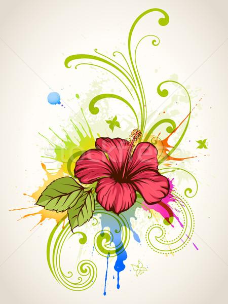 Foto d'archivio: Hibiscus · estate · floreale · foglia · tropicali · pattern