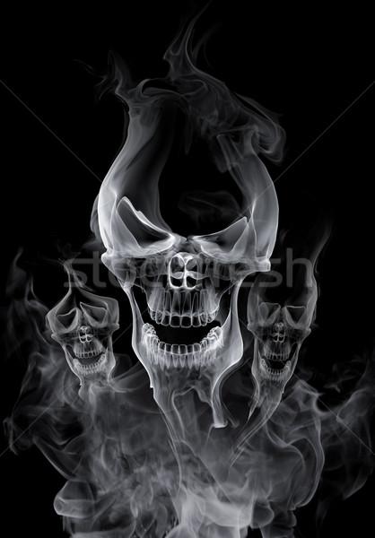 Crâne fumée fond amusement chaud vacances Photo stock © Misha