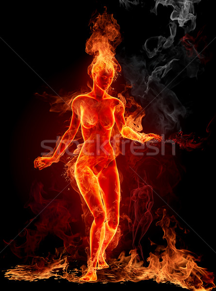 Dancing fire girl Stock photo © Misha