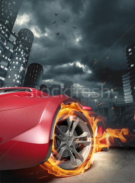 Sportautó kiégés eredeti autó terv madár Stock fotó © Misha