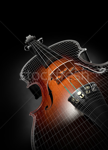 Violon 3D fil noir bois art Photo stock © Misha