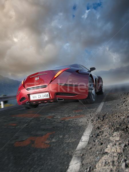 Piros sportautó mozog hegy út eredeti Stock fotó © Misha
