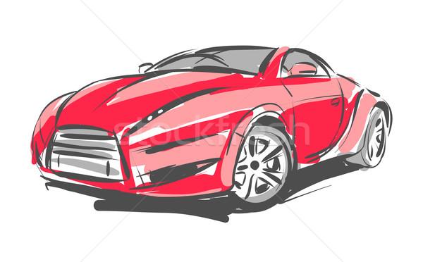 Vektor autó rajz piros verseny fehér Stock fotó © Misha