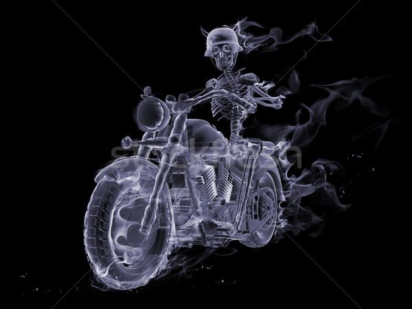 Duch dymu szkielet jazda konna motocykla Zdjęcia stock © Misha