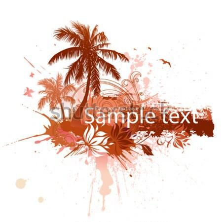 Stok fotoğraf: Palmiye · ağaçları · soyut · tropikal · uzay · metin · plaj