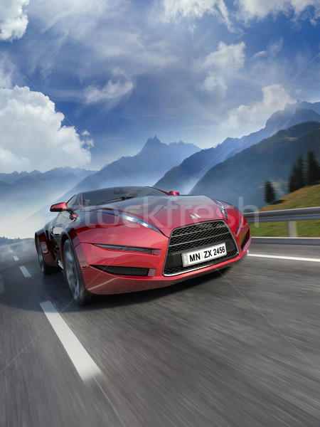 Foto stock: Em · movimento · estrada · meu · próprio · carro