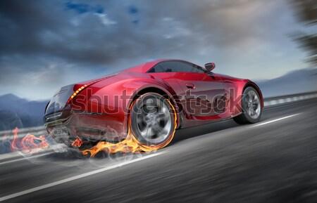 Sportautó mozog út enyém saját autó Stock fotó © Misha