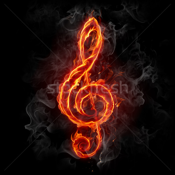 Feu flaming musical symbole design Photo stock © Misha