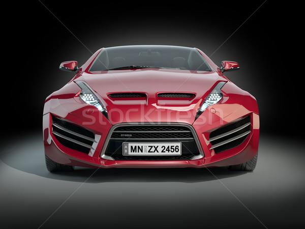 красный Спортивный автомобиль изолированный черный автомобилей власти Сток-фото © Misha