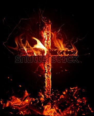 Tűz levél lángoló piros láng gyönyörű Stock fotó © Misha
