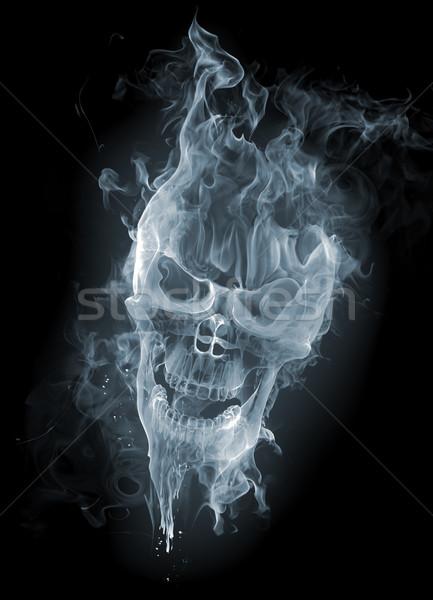 Crâne fumée fond chaud horreur idée Photo stock © Misha