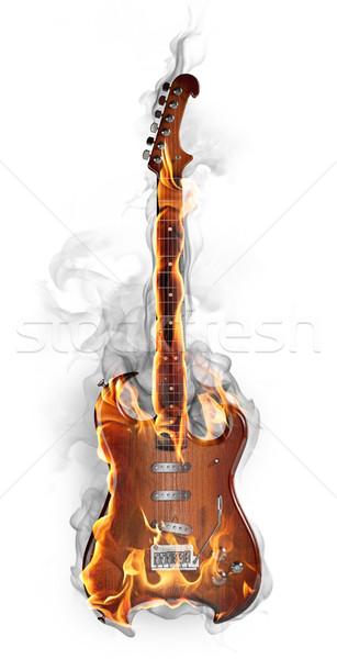 Brûlant guitare Rock isolé blanche feu Photo stock © Misha
