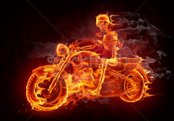 Ognia palenie szkielet jazda konna motocykla Zdjęcia stock © Misha