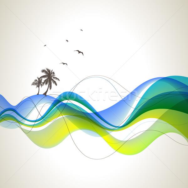Palmiers mer résumé arbre design fond Photo stock © Misha