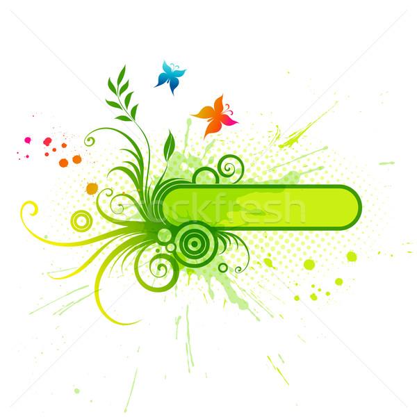 Vektor keret virágmintás elemek zöld tavasz Stock fotó © Misha