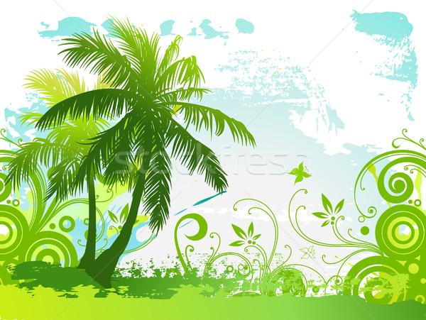 Vecteur palmiers été paysage design fond Photo stock © Misha