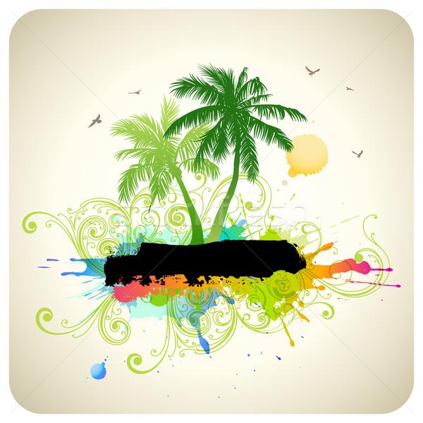Tropicales résumé palmiers plage arbre design Photo stock © Misha