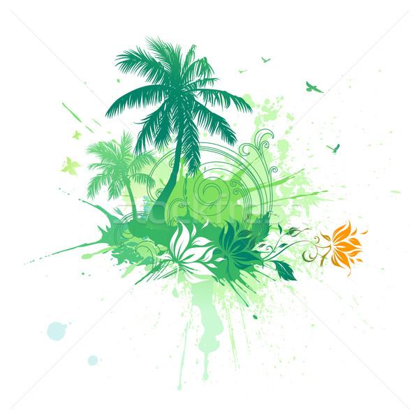 Stok fotoğraf: Yaz · tropikal · vektör · avuç · içi · çiçekler · plaj