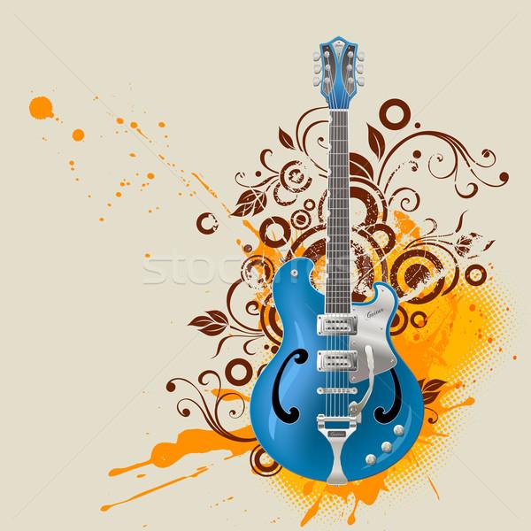 Foto stock: Guitarra · vector · grunge · flor · fondo · rock