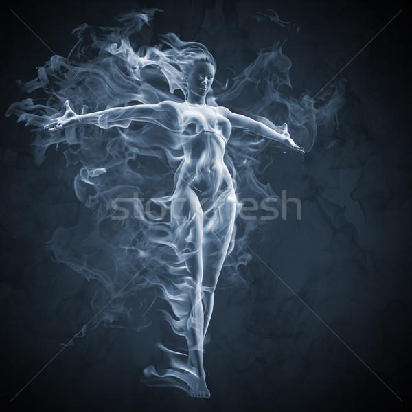 Lány füst hatás divat terv modell Stock fotó © Misha
