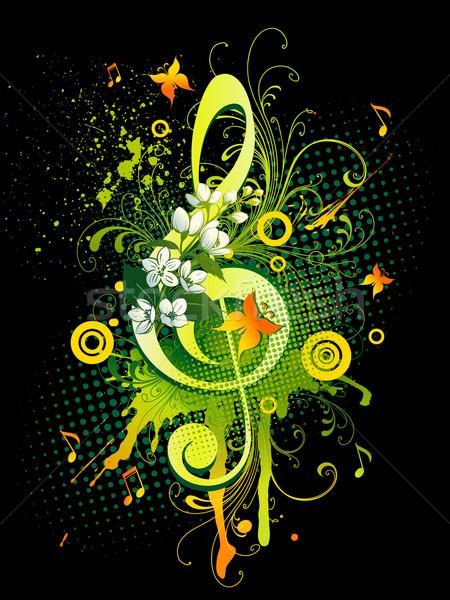 Személyzet kulcs zene háttér tavasz pillangó Stock fotó © Misha