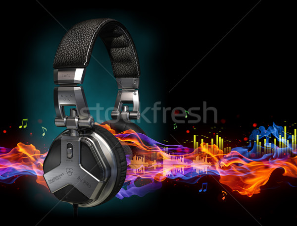 Fejhallgató hanghullámok technológia háttér füst forró Stock fotó © Misha