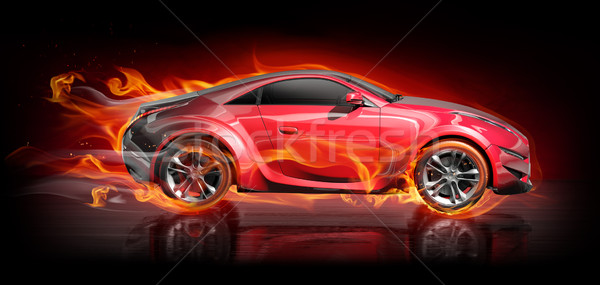 Stock photo: Car in fire
