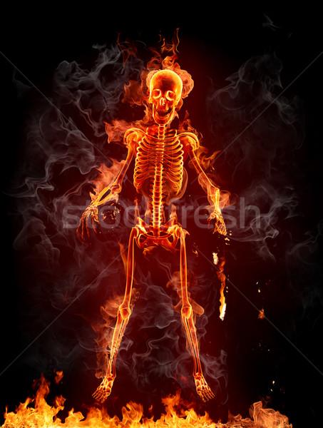 Llameante esqueleto halloween fuego cara arte Foto stock © Misha