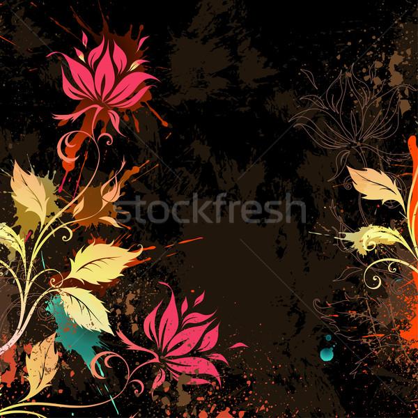 Virágok sötét grunge virágmintás tavasz absztrakt Stock fotó © Misha