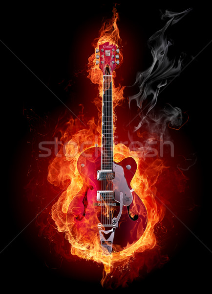 Flaming guitar Stock photo © Misha