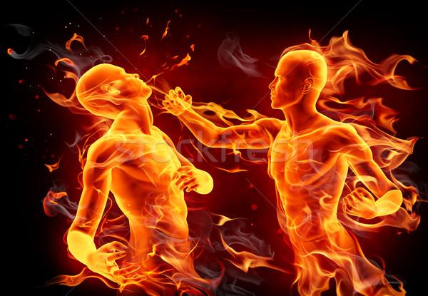 Stok fotoğraf: Boks · kavga · yangın · kavga · adam · spor