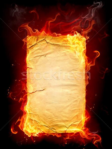 Сток-фото: сжигание · бумаги · огня · книга · фон · черный