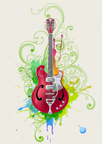 Rock gitaar vector elektrische gitaar grunge abstract Stockfoto © Misha