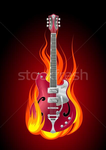 Zdjęcia stock: Palenie · gitara · rock · płomienie · muzyki · świetle