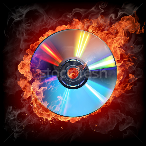 Brandend cd brand abstract achtergrond rook Stockfoto © Misha