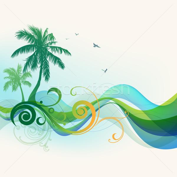 Foto stock: Tropical · palmeiras · ondas · aves · mar · fundo