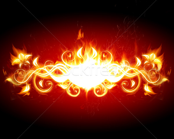 Photo stock: Feu · titre · cadre · feu · fleur · rouge