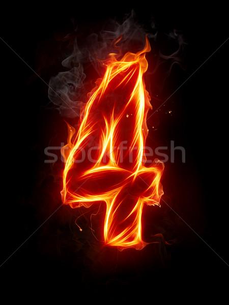 Tűz szám betűtípus levél piros gyönyörű Stock fotó © Misha