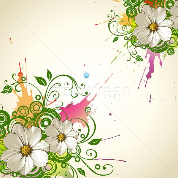 Foto d'archivio: Floreale · vettore · grunge · fiore · design · pattern