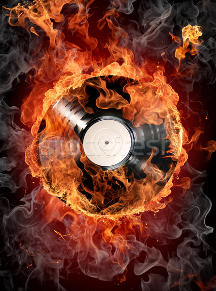 Burning vinyl records Stock photo © Misha