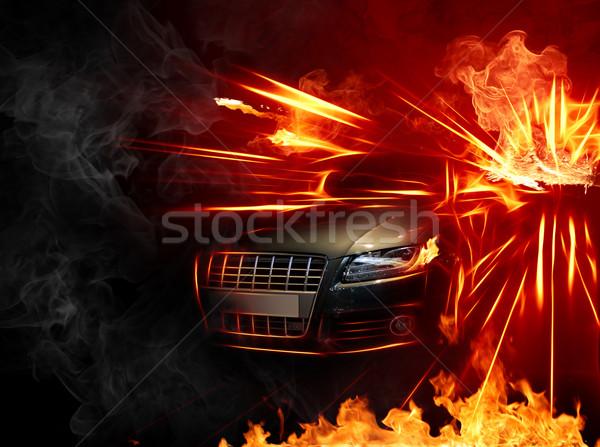 Forró autó kiégés tűz sebesség fekete Stock fotó © Misha
