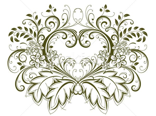 Szív virágmintás tavasz esküvő szeretet pillangó Stock fotó © Misha