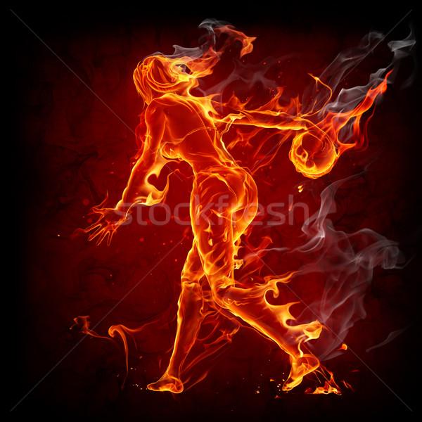 Ardente menina fireball quente esportes fumar Foto stock © Misha